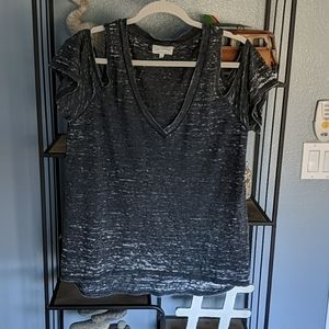 LUCKY BRAND cold shoulder burn out tee sz L